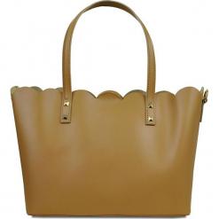 """Skórzany shopper bag """"Adelie"""" w kolorze karmelowym - 31 x 24 x 16 cm. Brązowe shopper bag damskie Spécial maroquinerie, z materiału. W wyprzedaży za 272,95 zł."""