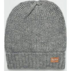Pepe Jeans - Czapka. Szare czapki zimowe damskie Pepe Jeans, na zimę, z dzianiny. Za 119,90 zł.