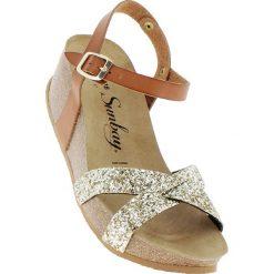 Rzymianki damskie: Skórzane sandały w kolorze karmelowo-złotym