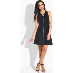 Sukienki hiszpanki: Kobieca sukienka z zamkiem z przodu czarna