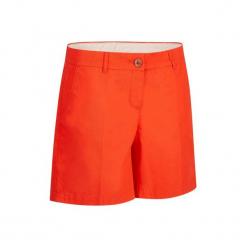 Spodenki do golfa 500 damskie. Czerwone szorty damskie marki INESIS, z bawełny. W wyprzedaży za 39,99 zł.