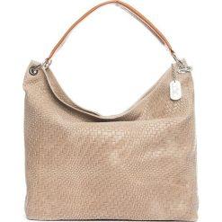 Torebki klasyczne damskie: Skórzana torebka w kolorze szarobrązowym – 38 x 35 x 13 cm