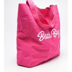 Torebki i plecaki damskie: Materiałowa torba z napisem - Różowy