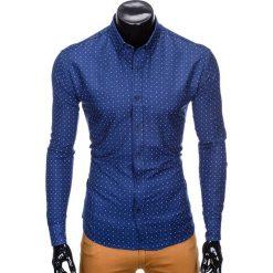 Koszule męskie na spinki: KOSZULA MĘSKA ELEGANCKA Z DŁUGIM RĘKAWEM K414 – GRANATOWA