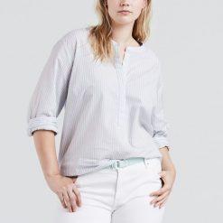 Koszule damskie: Koszula z kołnierzykiem w serek, w paski, długi rękaw