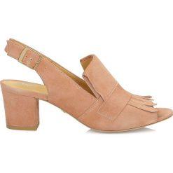 Sandały damskie: Ciemnobeżowe sandały peep toe
