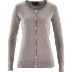 Sweter rozpinany z domieszką jedwabiu bonprix brunatny. Brązowe kardigany damskie marki bonprix. Za 59,99 zł.