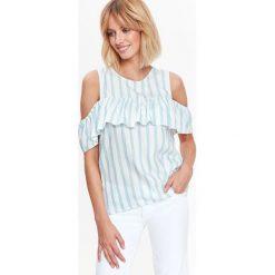 BLUZKA COLD SHOULDER, W PASKI. Szare bluzki z odkrytymi ramionami marki Top Secret, eleganckie, z chokerem. Za 59,99 zł.