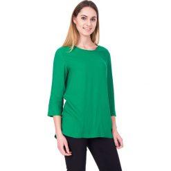 Bluzki asymetryczne: Zielona bluzka z rękawem 3/4 oraz kieszeniami BIALCON