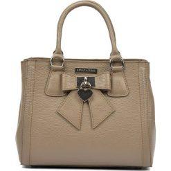 Torebki klasyczne damskie: Skórzana torebka w kolorze ciemnobeżowym – (S)22 x (W)28 x (G)14 cm