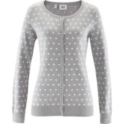 Swetry rozpinane damskie: Sweter rozpinany bonprix jasnoszary melanż – biały w groszki