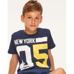 T-shirty chłopięce: T-shirt z napisem new york – Granatowy