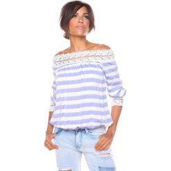 """Bluzki, topy, tuniki: Koszulka """"Isa"""" w kolorze niebiesko-białym"""