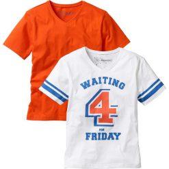 Odzież dziecięca: T-shirt (2 szt.) bonprix biało-ciemnopomarańczowy