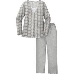 Piżamy damskie: Piżama bonprix szary melanż z nadrukiem