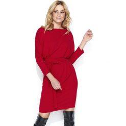 Dresowa Czerwona Sukienka Bombka z Kimonowym Rękawem. Różowe sukienki dresowe marki numoco, l, z dekoltem w łódkę, oversize. Za 129,90 zł.