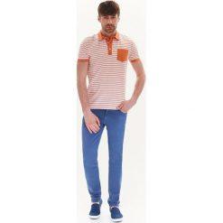 T-SHIRT MĘSKI POLO W PASKI. Szare koszulki polo Top Secret, na jesień, m, w paski, z krótkim rękawem. Za 39,99 zł.