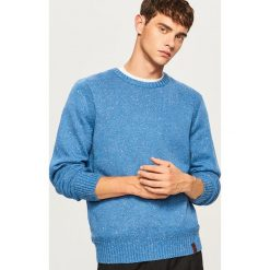 Sweter - Niebieski. Szare swetry klasyczne męskie marki Reserved, l, w paski, z klasycznym kołnierzykiem. Za 99,99 zł.