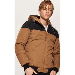 Dwukolorowa kurtka z kapturem - Brązowy. Czarne kurtki męskie marki House, l, z nadrukiem. Za 189,99 zł.