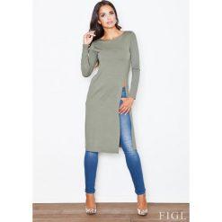 Zielona Długa Bluzka -Tunika z Głębokim Rozcięciem na boku. Fioletowe bluzki longsleeves marki bonprix, w paski, z dzianiny, moda ciążowa. Za 95,90 zł.