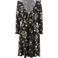 Sukienka z dżerseju, rękawy 3/4 bonprix czarny w kwiaty. Czarne sukienki z falbanami bonprix, w kwiaty, z dżerseju. Za 59,99 zł.