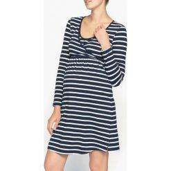 Ciążowa koszula nocna. Szare koszule męskie na spinki La Redoute Collections, w paski, z bawełny, z kopertowym dekoltem, z długim rękawem. Za 88,16 zł.