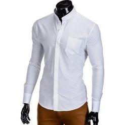 KOSZULA MĘSKA ELEGANCKA Z DŁUGIM RĘKAWEM K307 - BIAŁA. Brązowe koszule męskie na spinki marki Ombre Clothing, m, z aplikacjami, z kontrastowym kołnierzykiem, z długim rękawem. Za 59,00 zł.
