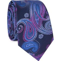 Krawat KWGR001755. Niebieskie krawaty męskie Giacomo Conti, w kolorowe wzory, z mikrofibry. Za 69,00 zł.