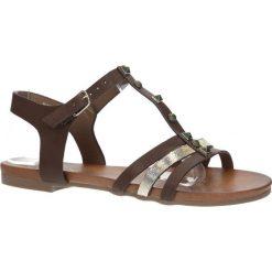 Brązowe płaskie i lekkie sandały z dżetami Casu K18X3/BR. Brązowe sandały damskie marki Casu, na płaskiej podeszwie. Za 29,99 zł.