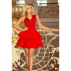 200-4 charlotte - ekskluzywna sukienka z koronkowym dekoltem - czerwon. Czerwone sukienki koronkowe marki numoco, l, rozkloszowane. Za 249,00 zł.