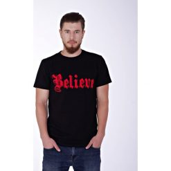 Believe black t-shirt. Czarne t-shirty męskie z nadrukiem Pakamera, m, z zamszu. Za 69,00 zł.