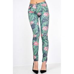Rurki damskie: Spodnie rurki z motywem tropical