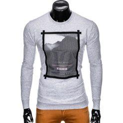 Bluzy męskie: BLUZA MĘSKA BEZ KAPTURA Z NADRUKIEM B805 - SZARA