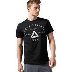 Reebok Koszulka męska Stamp Graphic Tee czarna r. M (AY1050). Pomarańczowe koszulki sportowe męskie marki Reebok, z dzianiny, sportowe. Za 96,38 zł.