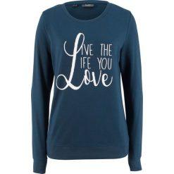 Bluza dresowa bonprix ciemnoniebieski z nadrukiem. Niebieskie bluzy z nadrukiem damskie bonprix, z dresówki. Za 44,99 zł.