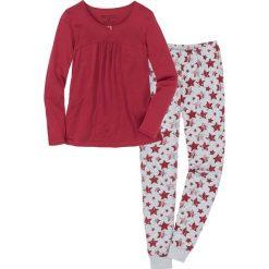 Piżama bonprix pomarańczowoczerwono-jasnoszary melanż z nadrukiem. Czerwone piżamy damskie marki DOMYOS, z elastanu. Za 59,99 zł.