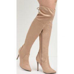 Khaki Kozaki McKenzie. Brązowe buty zimowe damskie marki Born2be, ze szpiczastym noskiem, na wysokim obcasie, na szpilce. Za 104,99 zł.