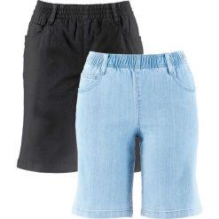 """Szorty ze stretchem (2 pary) bonprix czarny + niebieski """"bleached"""". Czarne bermudy damskie bonprix. Za 109,98 zł."""