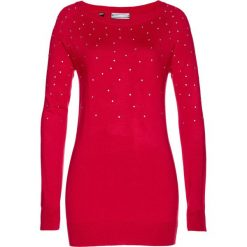 Sweter bonprix czerwony. Czerwone swetry klasyczne damskie marki bonprix, z materiału. Za 79,99 zł.
