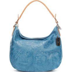 Torebki klasyczne damskie: Skórzana torebka w kolorze niebieskim – 27 x 23 x 12 cm