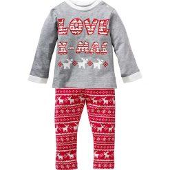 Spodnie niemowlęce: Shirt niemowlęcy + spodnie (2 części) bonprix jasnoszary melanż – czerwony