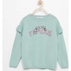 Swetry damskie: Sweter z falbankami na ramionach - Turkusowy