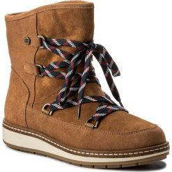 Śniegowce TOMMY HILFIGER - Wooli 14C FW0FW01597  Terra Cotta 202. Czarne buty zimowe damskie marki TOMMY HILFIGER, z materiału, z okrągłym noskiem, na obcasie. W wyprzedaży za 399,00 zł.