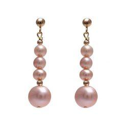 Kolczyki damskie: Pozłacane kolczyki w kolorze jasnoróżowym z perłami