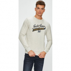 Jack & Jones - Bluza. Szare bejsbolówki męskie Jack & Jones, l, z nadrukiem, z bawełny, bez kaptura. W wyprzedaży za 89,90 zł.