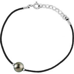 Bransoletki damskie na nogę: Bransoletka w kolorze czarnym z perłą