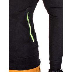 BLUZA MĘSKA ROZPINANA BEZ KAPTURA B673 - CZARNA. Czarne bluzy męskie rozpinane marki Ombre Clothing, m, z bawełny, z kapturem. Za 59,00 zł.