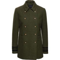 Krótki płaszcz ze złotymi guzikami bonprix ciemnooliwkowy. Zielone płaszcze damskie bonprix, eleganckie. Za 239,99 zł.