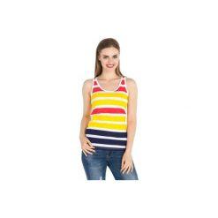 Bluzki asymetryczne: bluzka damska bezrękawnik luźna w paski, z lamówkami, kolorowa