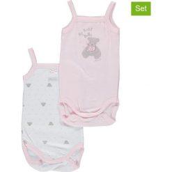 Body niemowlęce: Body (2 szt.) w kolorze jasnoróżowo-białym